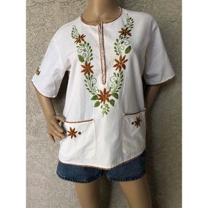 VINTAGE | Minimalist cotton tunic with embroidery